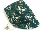 UB2 ORGANIC LUSH emerald green & gorgeous ivory birds reverse to a delicate dot on a baby summer sun hat, by Urban Baby Bonnets (all sizes)