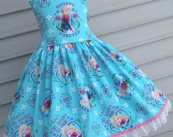 Ready to Ship Custom Boutique Aqua Frozen Girl dress Will Fit Size 5 or 6
