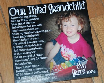 """Our Third Grandchild- Personalized PHOTO Giclee MOUNTED prints- custom made to order with your saying and photo- 13"""" x 13"""""""