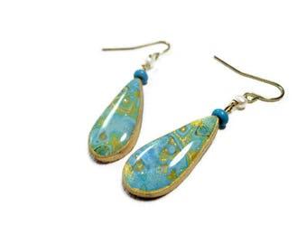 Aqua Gold Teardrop Dangle Earrings- Freshwater Pearl Earrings Polymer clay Earrings Gifts for Her Graduation Birthday