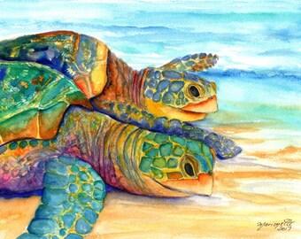 turtle watercolors, sea turtle paintings,  kauai fine art, original watercolors,  hawaiian honu,  hawaii kauai, kauai paintings, two turles