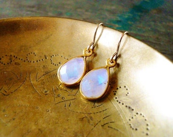 Tiny Moonstone Earrings in Gold Filled - Tear Drop Rainbow Moonstone Gemstone and Gold Drop Earrings, Gold Moonstone Earrings