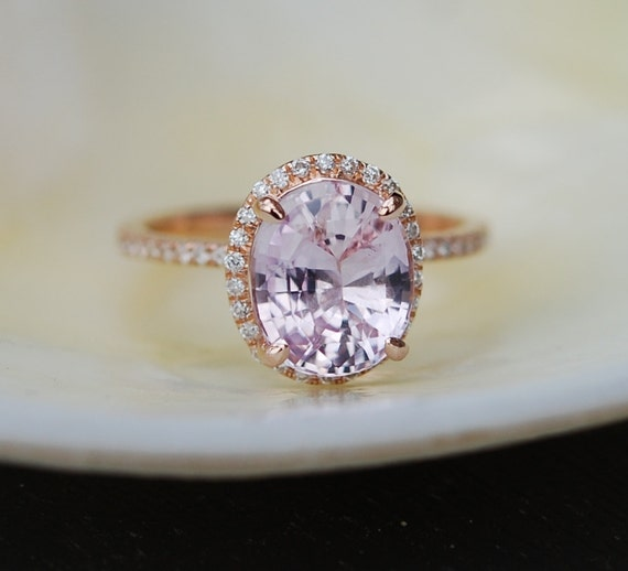 Ice Peach Sapphire Ring Rose Gold Engagement Ring 3 06ct oval