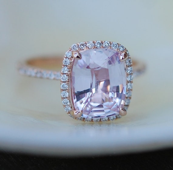 Peach Champagne Sapphire Engagement Ring 14k Rose Gold Diamond Engagement Ring 2.92ct Cushion Ice Peach