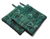 Quilted Pot Holders set of 2 Peacock Feathers Turquoise