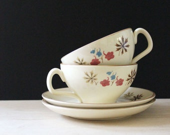Franciscan Larkspur mid century modern cup and saucers, 1950s.