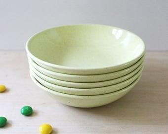 Pebbleford Sunburst Yellow dessert bowls. Taylor Smith Taylor mid century modern design. Set of five.