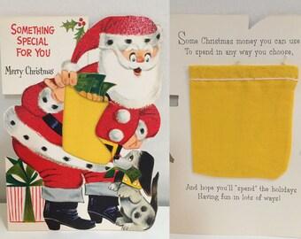 Vintage santa money card