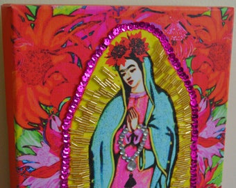 READY TO HANG Our Lady Guadalupe Frida Kahlo Embellished Stretched Canvas Wall Modern Home Decor Virgin Mary Mexican Folk Art