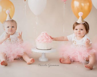Cake Smash Outfits Twins, Pink and Gold 1st Birthday Outfits Twins, First Birthday Outfit Girl, Tulle Skirt, Cake Smash Outfit Girl Tutus