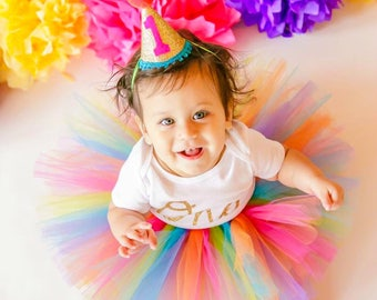 Rainbow Cake Smash Outfit, First Birthday Outfit Girl, 1st Birthday Outfit, 1st Birthday Tutu, First Birthday Tutu, Rainbow Baby Tutu Skirt