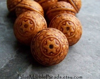Etched Bead, Carved Bead, Saucer Bead, Ethnic Bead, Ornate Bead, Washed, Distressed, Antiqued, Vintage Lucite Beads, Vintage Beads, 8 Beads