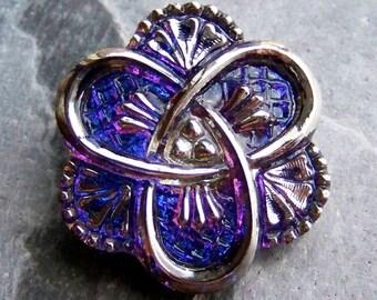 Glass Button, Love Knot, Celtic Button, Floral Button, Bermuda Blue, Hand Painted, Bohemian Button, Czech Glass Button, Vintage Button, 1