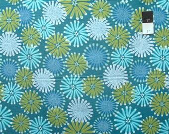 Zandra Rhodes Feathered PWZR014 Kaleidoscope Teal Cotton Fabric By Yd