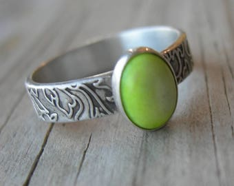 Gaspeite Sterling Ring Size 7 PMC Artisan Jewelry Birthstone Patterned Band Stacking Ring