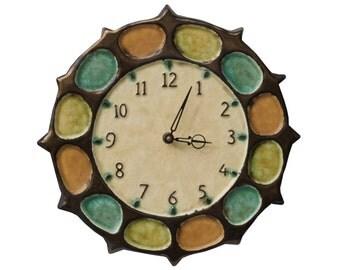 "Nautical Ceramic Wall Clock in Bronze (13"" diameter)"