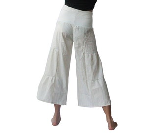 High Waisted Subtle Sparkle Hippie Chic Bloomers - Off White,  Foldover Waist, Ruffled, Tiered, Capri Pants