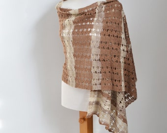 Lace crochet shawl, Brown, Creme, Q526