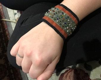 Brightly beaded vegan suede cuff, bead crochet