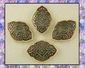2 Hole Beads Moroccan Trellis Style Filigree Hematite & Gold Metal ~ Sliders Qty 4     (SKU 495085855)