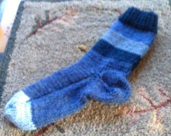 Hand Knit Alpaca , Wool Socks Women,s  Large 8-10 Moody Blues