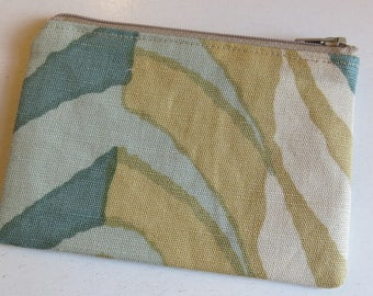 Coin purse in abstract leaf print - green/mustard