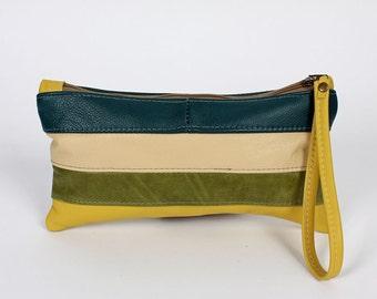 Sheena Leather Clutch Bag in Summer Stripe Purse Handbag