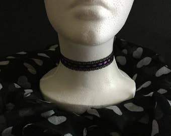Handmade black & purple lace choker necklace.