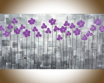 "Purple flowers art Wall art purple grey canvas art Acrylic Impasto Painting shabby chic ""purple delight"" by qiqigallery"