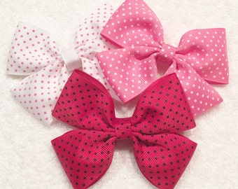 Polka Dot Hair Bows Girls Polka Dot Bows Pink Polka Dot Bows Red Polka Dot Bows Pink And White Bow Barrettes And Clips
