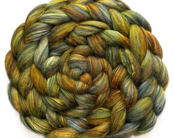 Roving Handdyed Merino Silk Swirled Colors Combed Top Land of Plenty 5.2 oz.