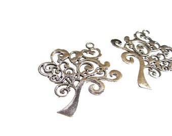 Silver Tree of Life Pendants, large Charm with stylized branches and trunk, Bulk lot of 10 pcs C0031