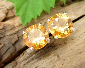 Citrine Screw Back Studs, Platinum or 14k Gold Screw Back Earrings with Golden Yellow Citrine, White Gold or Yellow Gold Screwbacks