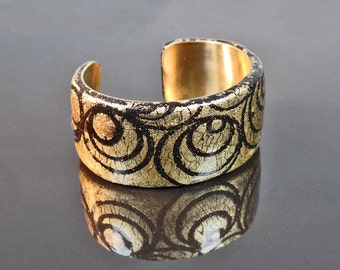 Polymer clay and brass cuff bracelet, gold and black, statement, ooak