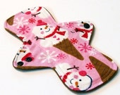 "Christmas 9"" Reusable Cloth Menstrual pad LIGHT flow -bamboo/cotton core - Windpro - cotton flannel top - Snow cone"
