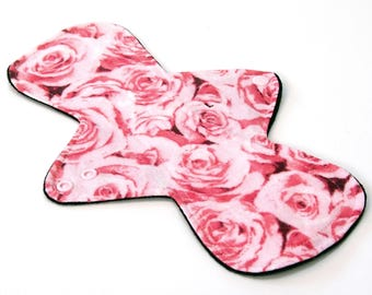 """11"""" LIGHT flow - Reusable Cloth Menstrual pad -bamboo core - Windpro - cotton flannel top in """"Roses"""""""