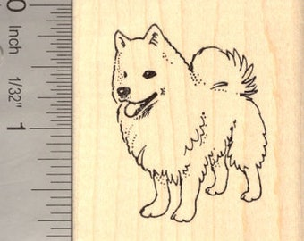American Eskimo Dog Rubber Stamp H14005 Wood Mounted