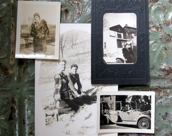 HOLIDAY SALE - She's Got Style - Four Vintage Snapshots, Jalopy, Framed Photo, Fur, Relaxing with Friend