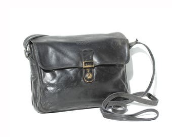 Vintage BREE Black Leather Cross Body Bag