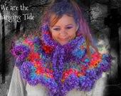 Magical Wunjo Crow Crochet Warm chunky RAINBOW  Hugawl Shawl Poncho neck warmer