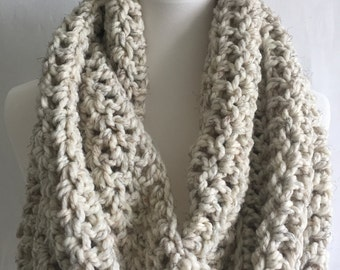 Infinity scarf ~ chunky oversized circle scarf ~ wool blend ~ style #1025 shown in Oatmeal ~ choose your color
