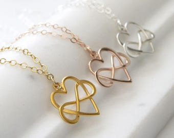 Infinity Heart Necklace • Heart & Infinity Symbol • Friendship Necklace • Best Friend Birthday • Gift For Friend • Gift of Eternal Love