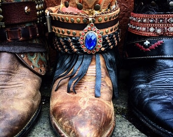 Luxury BOHEMIA Festival Boots ~ Custom Reworked Bohemian Gypsy Boots ~ Made To Order