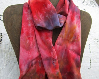 Valentine Red - Ice Dyed Crepe de Chine Silk Scarf