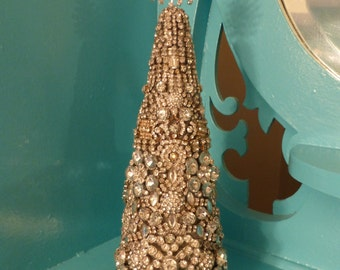 Lovely OOAK Vintage Inspd Rhinestone Jewelry Christmas Tree Cone Decoration no 2