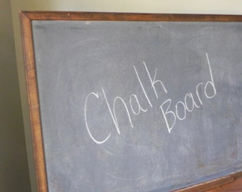 Large vintage school chalkboard with chalk ledge - well seasoned oak frame 3 foot by 2 foot large