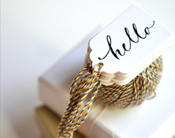 Hello Mini Gift Tags {10} | Threaded for Holiday Festive Gift Wrapping | Teacher Gift under 5