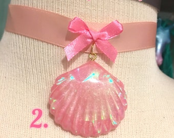 Pink Iridescent Holographic Mermaid Sea Shell Ribbon Choker Necklace, 3 styles