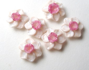 Handmade Lampwork Beads, PINK DAFFODILS, Narcissus, Jonquil, artisan glass flowers, glass flower bead, lampwork daffodil, daffodil bead