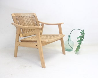 Danish Modern Han Wegner Style Rope Lounge Chair